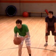 Sheldon prepares to shoot.