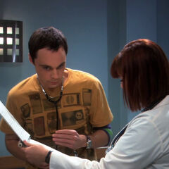 Hypochondriac Sheldon and doctor friend Stephanie.
