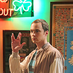 Sheldon leaving the bar with a Vulcan salute.