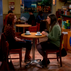 Emily having coffee with Amy.