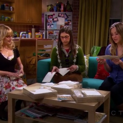 Amy and Penny help Bernadette with her wedding invitations.