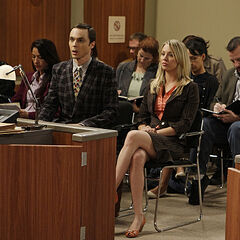 Penny and Sheldon in court.