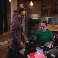 Sheldon happy with his new Batman cookie jar.
