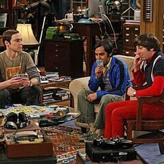 Sheldon, Raj, and Howard playing a card game.