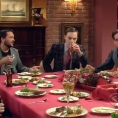 The guys sit together for dinner, with Sheldon consuming alcohol.