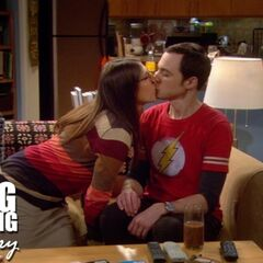 Sheldon and Amy's first kiss.