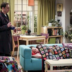 Sheldon finds Leonard on the couch.