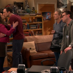 Sheldon and Amy saying good-bye.