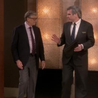 Bill Gates enters the hotel.