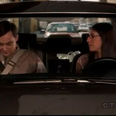 Sheldon and Amy in her car.