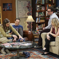 Amy helping Sheldon's injured feet.