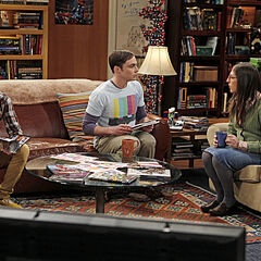 Howard, Sheldon, and Amy on the couch.