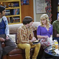 Raj, Howard, Bernadette and Sheldon looking at each other