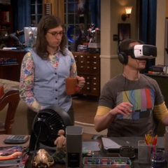Amy getting Sheldon some tea.