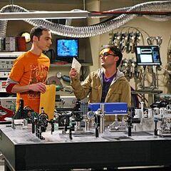In Leonard's lab.