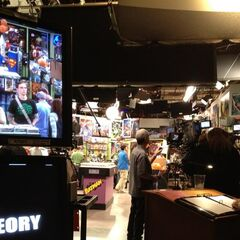 A behind the scene look on the taping of a scene of the episode.
