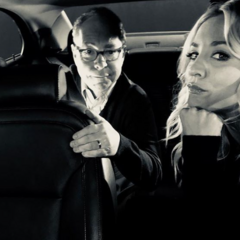 Kaley and Teller in the car set.
