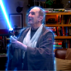 The spirit of Professor Proton enjoying his light saber.