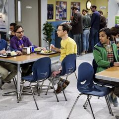 Raj sitting by himself away from Howard.