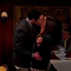 Sheldon finally kisses Amy.