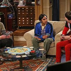 Sheldon, Raj, and Howard talk as they are playing their card game.