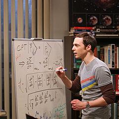 Sheldon working at his whiteboard.