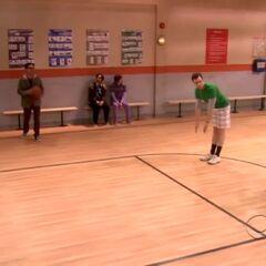 Leonard helps the guys settle their dispute over basketball.