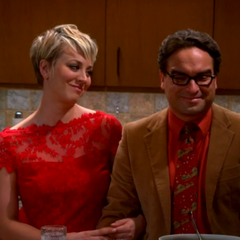 Leonard and Penny watching Sheldon give Amy her present.