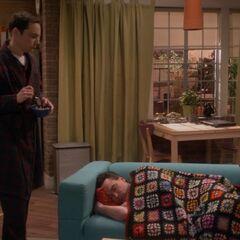 Sheldon finds Leonard.