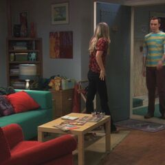 Sheldon visiting Penny.