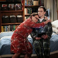 Leonard comforting Sheldon after Professor Proton dies.
