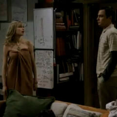 Sheldon finds Katie in a towel.