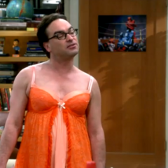 Leonard in orange lingerie.