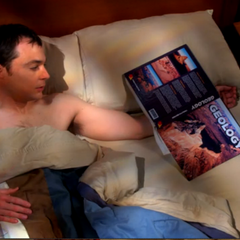 Drunken Sheldon spent the night with a geology book.