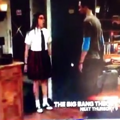 Amy in her catholic school uniform from a Canadian television commercial.