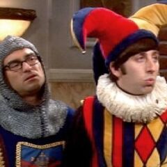 Leonard and Howard returning from the Renaissance Fair.
