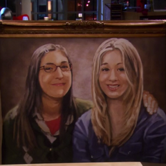 Amy's gift to Penny: a painting of the two.