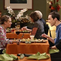 Sheldon having dinner with Penny.