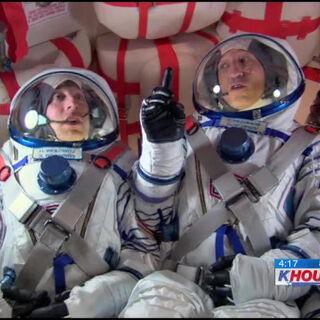 Onboard the Soyuz capsule.