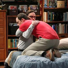 Sheldon cherishing Leonard after the Professor's advice.