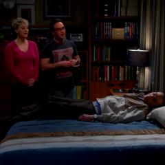 Exhausted Sheldon falling to sleep.