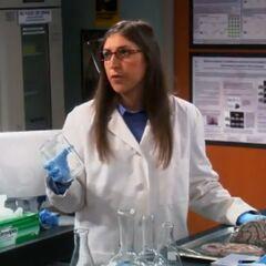 Amy talking to Sheldon.
