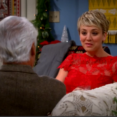 Penny talking to Raj's Dad, Dr. V.M. Koothrappali.