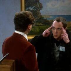 Sheldon unsuccessfully tries to zap Leonard's brain.