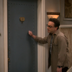 Knocking on Sheldon's door.