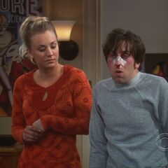 Penny with Howard after he got punched in the nose.