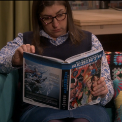 Amy reading up on the DC universe.