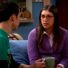 Amy and Sheldon discussing Professor Proton's funeral.