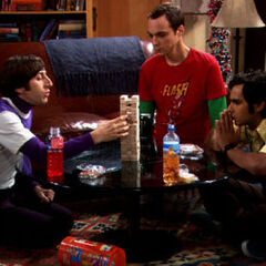 Howard, Raj and Sheldon play Jenga.