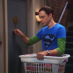 Sheldon returning her laundry.
